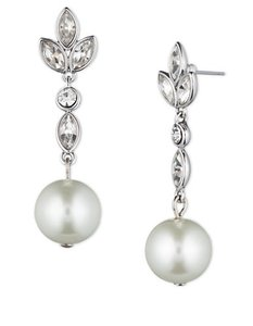 Givenchy Timeless Crystals Drop Faux Pearl Bridal Earrings