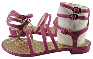 Chanel Gold Metal Jeweled Gladiator Strappy Flat 39 Pink Sandals