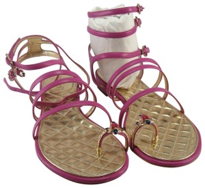 Chanel Gold Jeweled Gladiator Strappy RICH PINK/LAVENDER Sandals