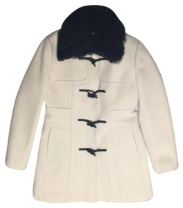 Banana Republic Wool Detachable Fur Beige Coat