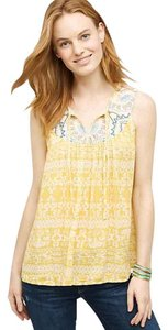 Anthropologie Embroidered Anthro Larkspur Top Yellow
