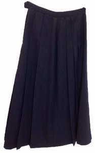 Brooks Brothers Wool Polka Dot Pleated Pleats Vintage Skirt Navy blue