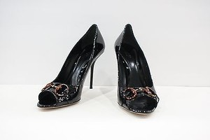 Gucci Patent Leather Heels With Bronzetortoise Horsebit Black Pumps