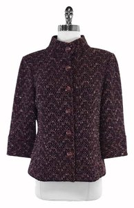 St. John Purple Black Tweed Blazer