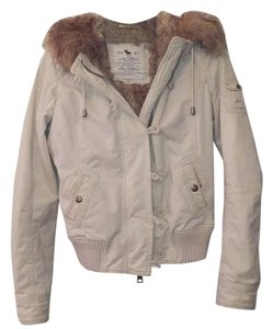 Abercrombie & Fitch Bomber Jacket Fur Lining Fur Fur Hood White Winter Ski Winter Jacket Snow Ski Jacket Cold Cozy Bomber Jacket Coat