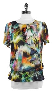 Ted Baker Multi Color Print Ruffly Top