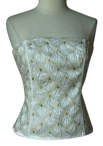 White House | Black Market Beaded Bustier Corset Top Ivory