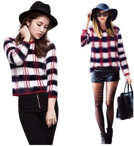 White Navy Plaid Sweater