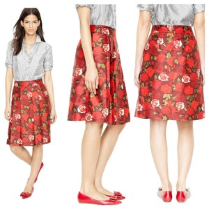 J.Crew Silk Pleated Floral Metallic Skirt Crimson Red