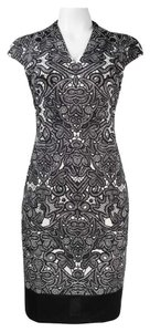 London Times Cap Sleeve Scroll Print Ponte Sheath Dress