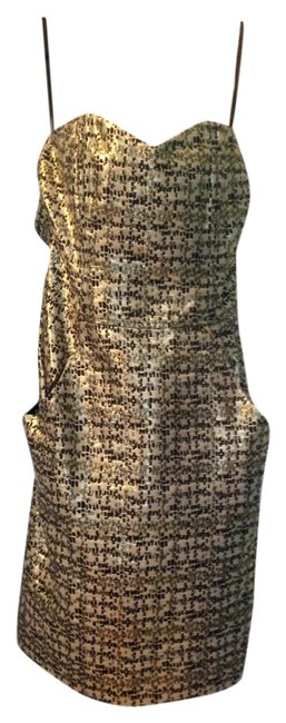 Item - Gold Above Knee Night Out Dress Size 6 (S)