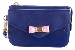 Tory Burch Pink Leather Gold Blue Clutch