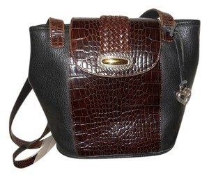 Brighton Vintage Leather Croc Tote in black & brown