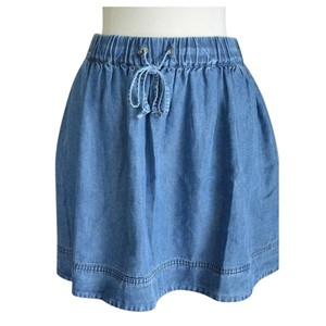 J.Crew Denim Chambray Lightweight Mini Mini Skirt blue