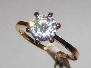 Yellow Gold Bogo Free White Topaz Solitaire Free Shipping Engagement Ring