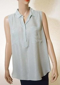 Rebecca Taylor Womens Silk Geometric 12 Buttondown Sleeveless Top Aqua