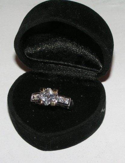 Silver Gold Bogo Free White Topaz 2 Tone Free Shipping Engagement Ring