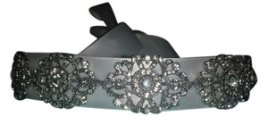 Antiquie silver headband with interchangeable ribbon Antique Silver Headband with Interchangeable Ribbon & 7 Art Deco Crystal Clusters