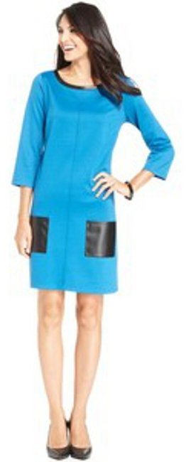 Preload https://item5.tradesy.com/images/sunny-leigh-blue-three-quarter-sleeve-faux-leather-shift-short-workoffice-dress-size-10-m-945429-0-0.jpg?width=400&height=650