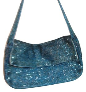 Christiana Sequins Baguette Clutch Handbag Blue Aqua Green Silk Evening Day Formal Casual Shoulder Bag