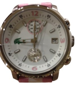 Lacoste Lacoste Watch Large Round Face With Izod Logo Pink and White Band