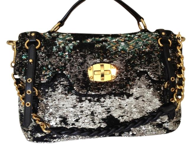 Item - Sequin Leather Black Gold Silver Hobo Bag