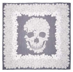 Alexander McQueen Alexander Mcqueen Navy And Ivory Bloom & Skull Print Silk Scarf New