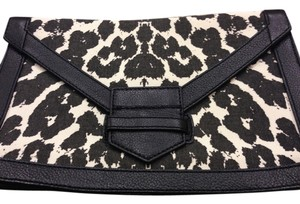 Felix Rey New York Shoulder Cross And Print Hand Animal Canvas Flap Magnetic Closure Black/ White Clutch
