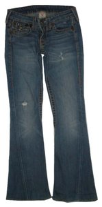 True Religion Distressed Logo Flare Leg Jeans-Medium Wash