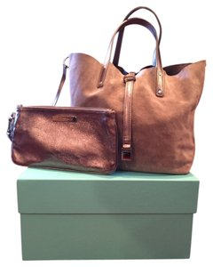 Tiffany & Co. Suede Tote in Taupe Suede/ Metallic Leather