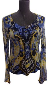 Elie Tahari Camisole Sheer Top Blue / Yellow / White Multi