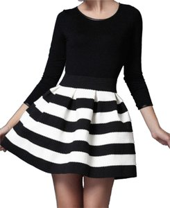 Fancy Punch Skater Striped Skater Mini Skirt Black & White