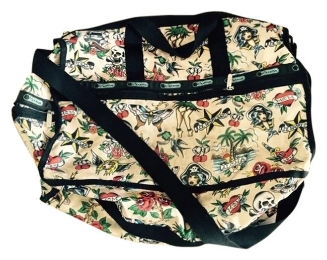 Item - Pattern Multi Color Nylon with Canvas Trim Weekend/Travel Bag