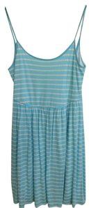 Buttons short dress light blue stripes on Tradesy