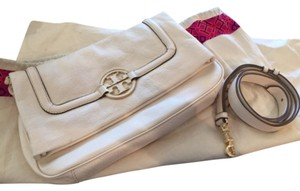 Tory Burch Pebble Leather Cream White Clutch
