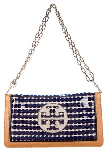 Tory Burch Brown Beige Leather Ivory Blue Sequin Textured Embellished Reva Logo Monogram Clutch Silver Silver Hardware Chain New Shoulder Bag