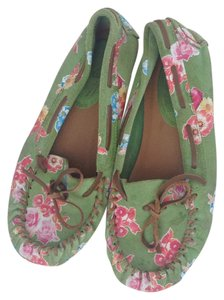 Jeffrey Campbell Moccasins Indian Leather Leather Moccasin Green with floral Flats