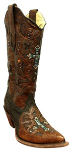 Corral Boots Brown Python Crystal Cross Boots