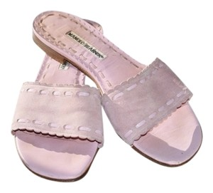 Manolo Blahnik Suede Haute Couture Flat Slip On pink Sandals