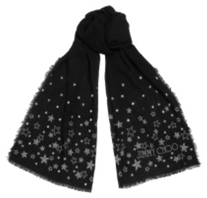 Jimmy Choo Jimmy Choo Black Star Studded Logo Fringed Scarf