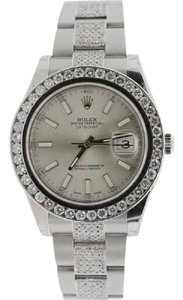 Rolex MENS 41MM ROLEX DATEJUST II STAINLESS STEEL 10.5 CT DIAMOND