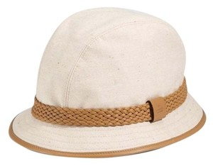 Gucci BEIGE & TAN CANVAS HAT / FEDORA WITH BRAIDED LEATHER TRIM NEW, WITH TAGS
