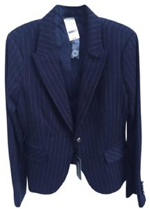Express Pinstripe Cinched Waist One-button Blue Blazer