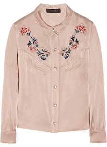 Isabel Marant Western Shirt Lorenzo Embroidered Floral Top Antique Rose