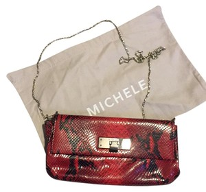 Michele Red snake Clutch