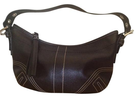 Coach Silver Buckles Top Stitching Shoulder Bag