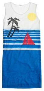 J.Crew short dress White & Blue Pattern Cover Up Beach T-shirt Beach on Tradesy