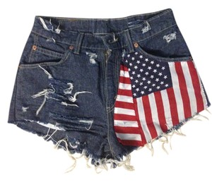 Levi's Vintage American Flag Cutoff Frayed Mini/Short Shorts Denim