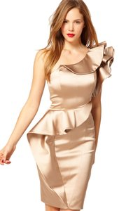 Karen Millen One Shoulder Peplum Satin Dress