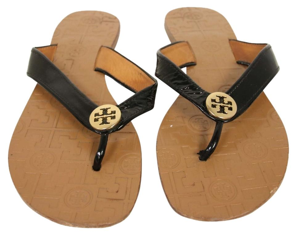 7d325df85 Tory Burch Black T Patent Leather Flip Flops Thong Strap Sandals ...
